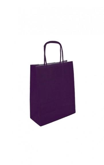 Papieren draagtas 18x8x22cm aubergine (bxdxh) per 50 stuks