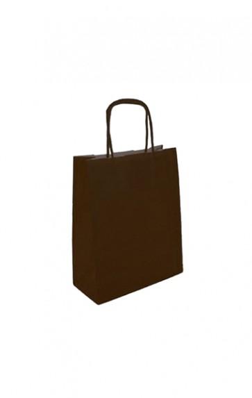 Papieren draagtas 18x8x22cm donkerbruin (bxdxh) per 50 stuks