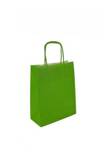 Papieren draagtas 18x8x22cm limoen (bxdxh) per 50 stuks