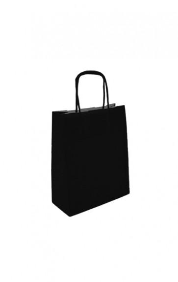 Papieren draagtas 18x8x22cm zwart (bxdxh) per 50 stuks