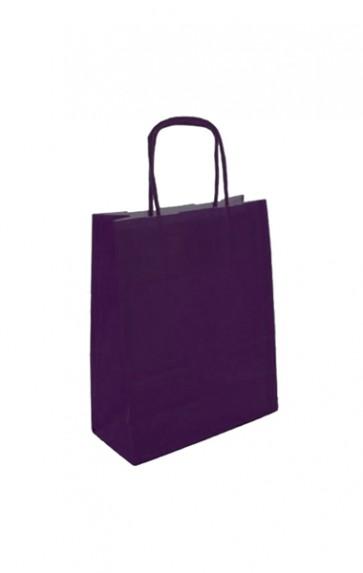 Papieren draagtas 24x11x31cm aubergine (bxdxh) per 50 stuks