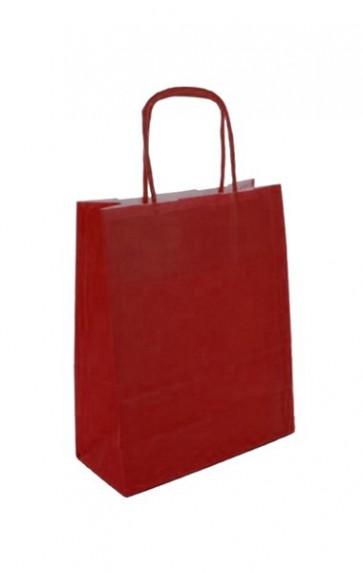 Papieren draagtas 32x14x42cm rood (bxdxh) per 50 stuks