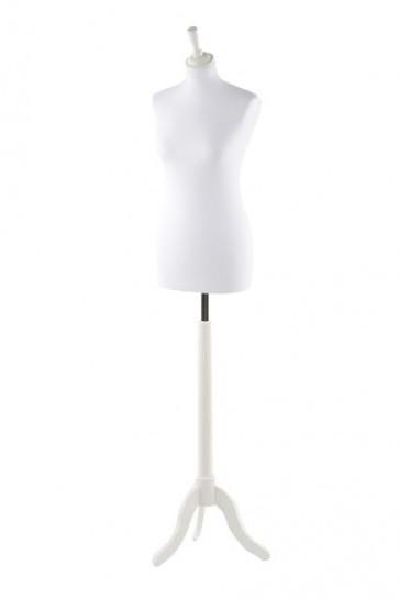 Paspop vrouw wit met witte driepoot en knop