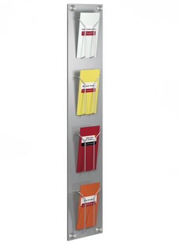Folderrek wand / muur 4x 1/3 A4 zilvergrijs FR6196