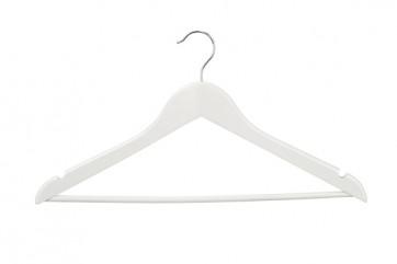 Geknikte kledinghanger 44 cm met broeklat wit gelakt hout