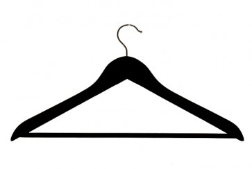 Geknikte kledinghanger 44 cm met broeklat Zwart gelakt hout