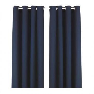 Paskamergordijn donkerblauw 2 stuks