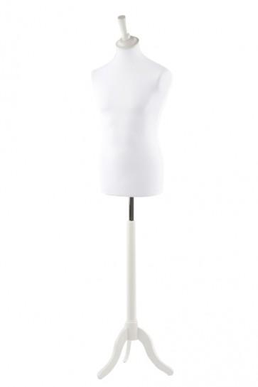 Paspop man wit met witte driepoot en knop