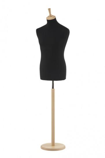 Paspop man zwart met beuken ronde voet en knop