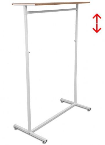 Kledingrek design 98 x 123-187cm verstelbaar wit met eiken legbord