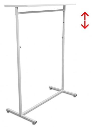 Kledingrek design 98 x 123-187cm verstelbaar wit met wit legbord