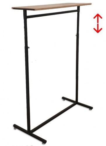 Kledingrek design 98 x 123-187cm verstelbaar zwart met eiken legbord