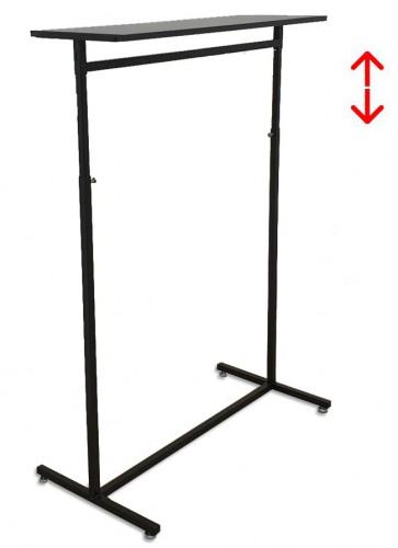 Kledingrek design 98 x 123-187cm verstelbaar zwart met zwart legbord