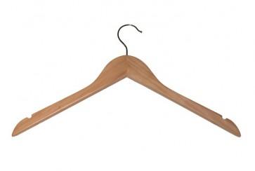 Kleerhanger 44 cm met inkepingen Blank gelakt hout