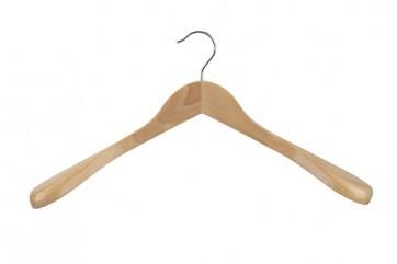 Kleerhanger 45 cm met brede schouders Blank gelakt
