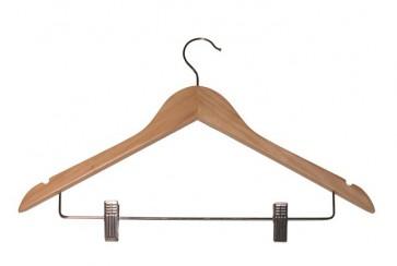 Kleerhanger 45 cm met knijpers Blank gelakt hout