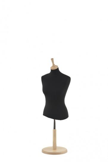 Korte paspop zwart met beuken ronde voet en knop