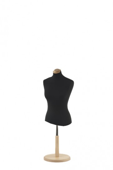 Korte paspop zwart met beuken ronde voet en dop