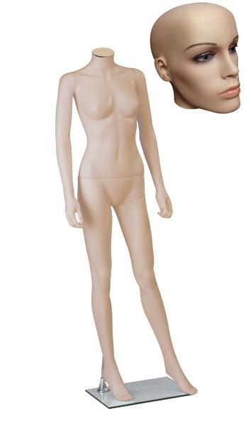Onbreekbare dames etalagepop H1 met hoofd 2 huidskleur
