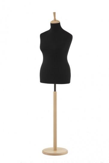 Paspop vrouw maat 42-44 zwart met beuken ronde voet en knop