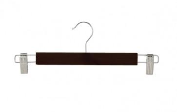 Kledinghanger recht hout 34 cm zwart met klemmen