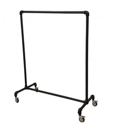 Steigerbuis kledingrek zwart op wielen 100 cm breed
