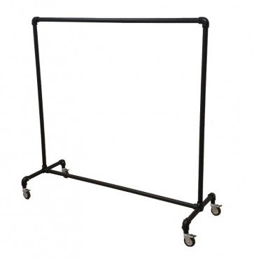 Steigerbuis kledingrek zwart op wielen 156 cm breed