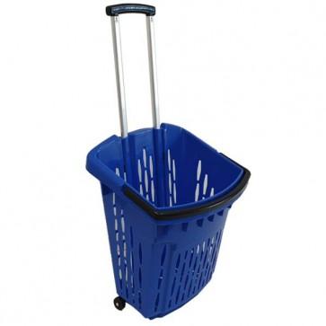 Trolley winkelmand blauw 38 liter verrijdbaar thumbnail