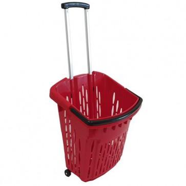 Trolley winkelmand rood 38 liter verrijdbaar thumbnail