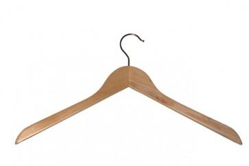 Vlakke kledinghanger 44 cm Blank gelakt hout