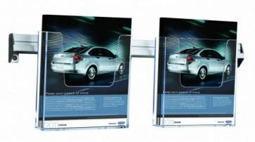 Wand folderrek 2x A5 horizontaal transparant