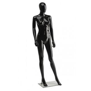 Onbreekbare dames etalagepop H1 met hoofd hoogglans zwart