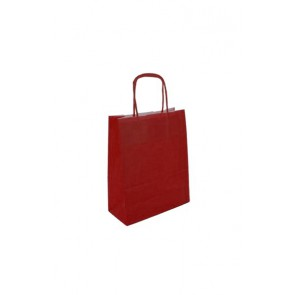 Papieren draagtas 18x8x22cm rood (bxdxh) per 50 stuks