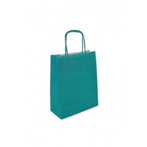 Papieren draagtas 24x11x31cm turquiose (bxdxh) per 50 stuks
