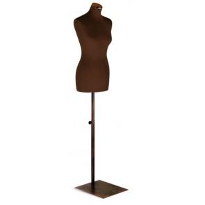 Paspop vrouw bruin met bruine vierkante voet en dop