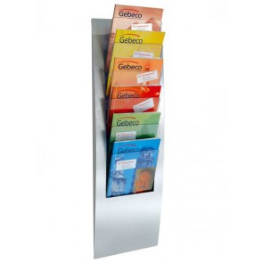 Design folderrek wand / muur met 6 maal A4 folders zilvergrijs FR6507