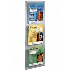 Folderrek wand / muur 3x A4 zilvergrijs FR6195