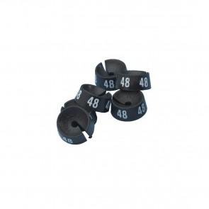 Maatdopjes zwart met witte bedrukking maten XS t/m XXXXL