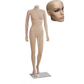 Onbreekbare dames etalagepop H2 met hoofd 2 huidskleur