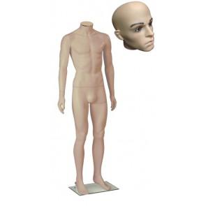Onbreekbare heren etalagepop H1 met hoofd 2 huidskleur