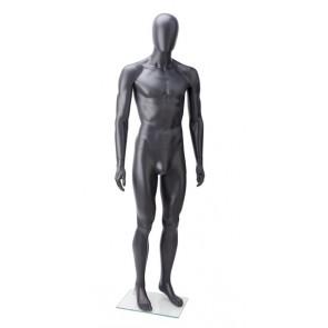 Onbreekbare heren etalagepop H1 met hoofd antraciet grijs