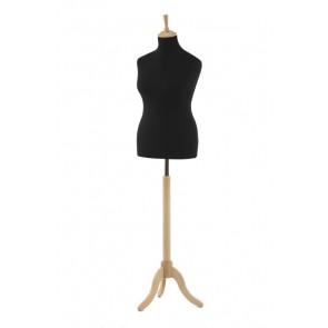 Paspop vrouw XL maat 42-44 zwart met beuken driepoot en knop