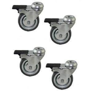 Set van 4 wielen 75 mm geremd