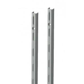 Wandrek rail grijs (RAL9006) enkele perforatie per paar 200cm