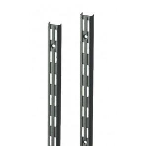 Wandrek rail zwart dubbele perforatie per paar 200cm lang