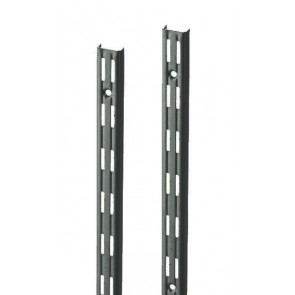 Wandrek rail zwart dubbele perforatie per paar 250cm lang