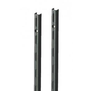 Wandrek rail zwart enkele perforatie per paar 150cm lang