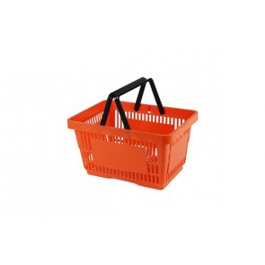 Winkelmand oranje 22 liter 2 hengsels zwart