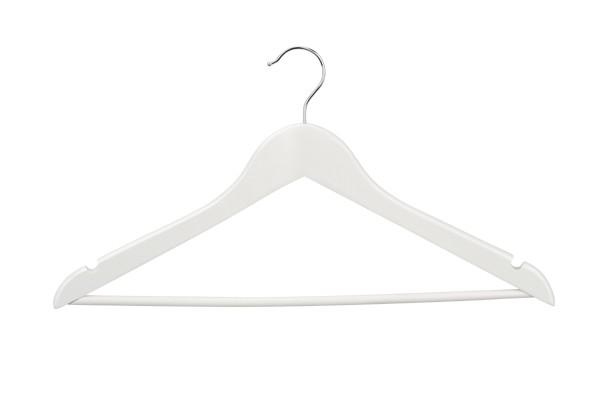 Geknikte kledinghanger 44 cm met broeklat Wit 8084131