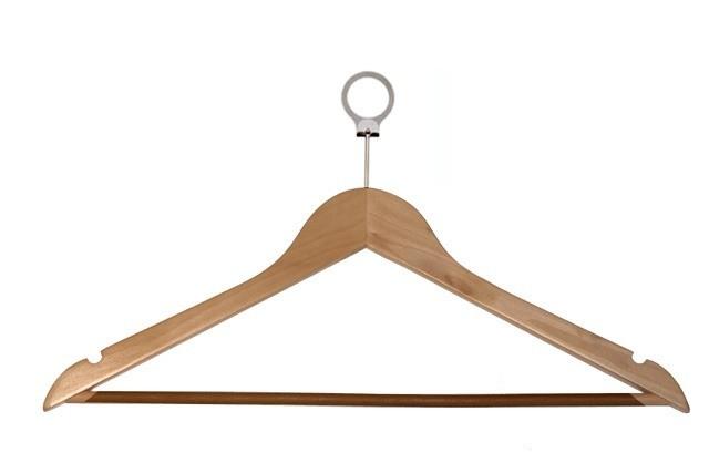 Hotel kledinghanger met anti diefstal ring Blank gelakt 808180153
